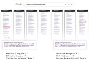 search rank comparison, page 1 vs page 7